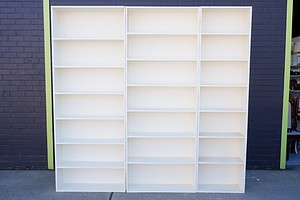 Three-Piece White Painted Bookcase Suite