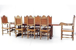 Vintage Spanish Renaissance Style Dining Suite with Tooled Leather and Brass Studs