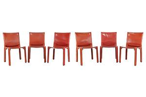 Set of Six Leather 'Cab' Chairs Designed by Mario Bellini for Cassina in 1977 (6)