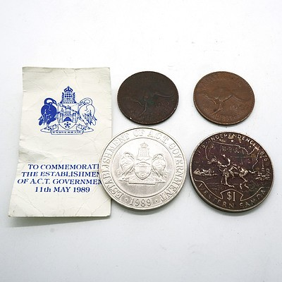 Establishment of the ACT Government 1989, Western Samoa Independence 1976 Coin, 1952 Penny and 1962 Penny