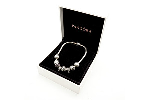Boxed Pandora Bracelet with Various Charms