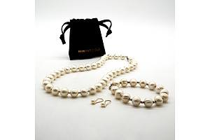 Freshwater Pearl Necklace with Matching Bracelet, and Pair of 10k Gold and Pearl Earrings