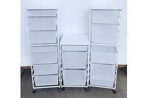 Three White Mesh Storage Drawers on Wheels