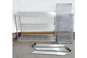 Two Bays of Coolroom Shelving on Wheels
