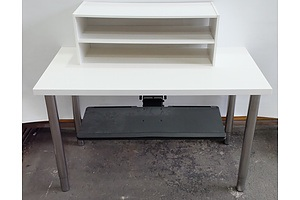 Ikea Adjustable Height Office Table With Monitor Stand, Slide Out Keyboard Tray and Cable Management Tray