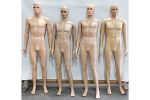 Four Male Store Mannequins Without Stands