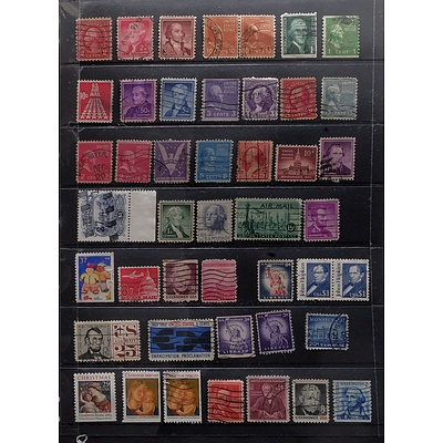 Sheet of United States Postal and Air Mail Stamps, Including Lincoln 4c Stamps, 15c 1st International Postal Conference Stamp and More