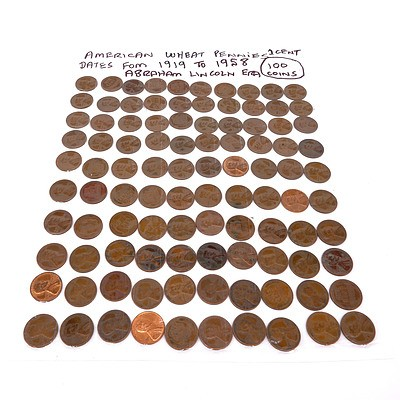 Sheet of a Hundred 1919-1958 1 Cent American Wheat Pennies