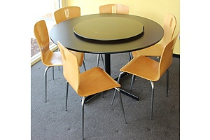 1200mm Restaurant Tables and Six Chairs - Lot of Five Sets