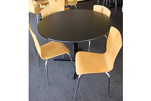 1050mm Restaurant Tables and Six Chairs - Lot of Four Sets