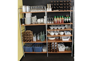 Two Bays of Shelving with Crockery, Cutlery and Glassware