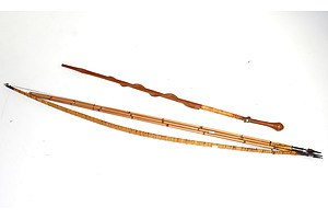 New Guinea Bow and Arrows and Walking Stick