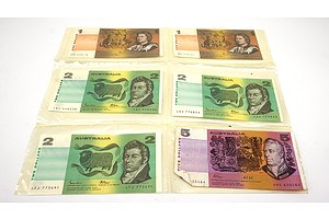 Various Australian Paper Banknotes, Including Fraser/ Cole $5, Three Fraser/ Johnston $2 and Two Johnston/ Stone $1 Notes
