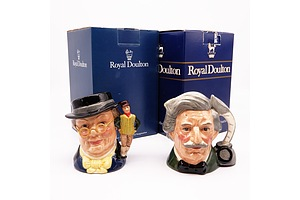 Two Boxed Royal Doulton Character Jugs, Mr Pickwich D7025 and Mark Twain D6694