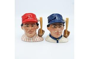 Two Royal Doulton Character Jugs, The Baseball Player D6957 and The Baseball Player D6958