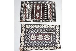 Pair of Small Polynesian Tapa Cloths (Unframed)