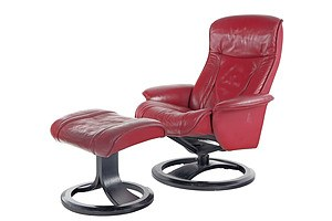 IMG Norway Leather Upholstered Recliner Chair and Ottoman