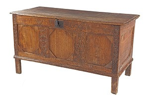Antique English Oak Coffer, Inscribed WC 1696