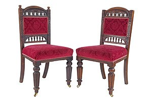 Pair of Late Victorian Mahogany Dining Chairs, One Lacking Finials