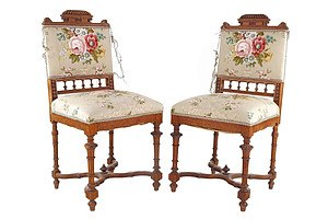 Pair of Late Victorian Oak Side Chairs