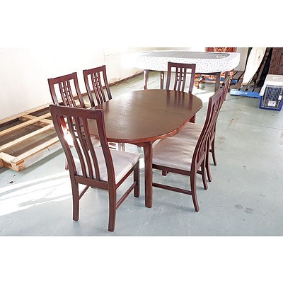 Contemporary Extension Dining Table with Six Chairs