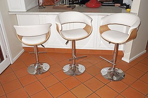 Three Contemporary Chromed Metal Bar Stools