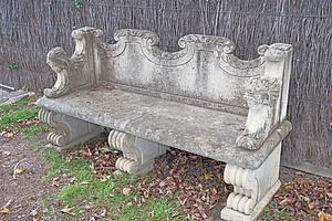 Greco Roman Style Cast Composite Garden Bench, Modern