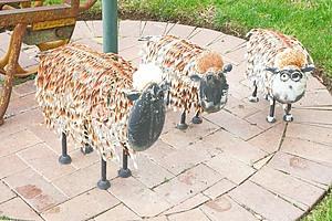 Three Painted Metal Sheep
