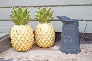 Metal Jug, Two Pottery Pineapples and a Wooden Duck