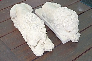 Two Cast Composite Lions
