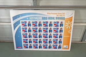2002 Winter Paralympic Games Stamp Poster Mounted on Corflute