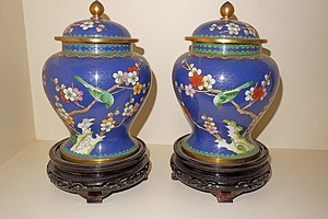 Pair of Chinese Cloisonne Enamel Urns