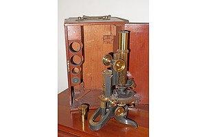 Antique Swift and Son London Microscope in Original Mahogany Box