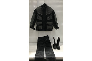Dririder Motorcycle Jacket With Alpine Star Leather Pants and Leather Boots