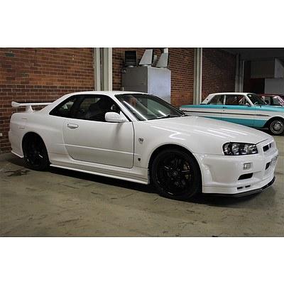 6/1999 Nissan Skyline R34 GT-R V-Spec 2d Coupe White 2.6L