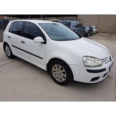 1/2007 Volkswagen Golf 1.9 TDI Comfortline 1K 5d Hatchback White 1.9L