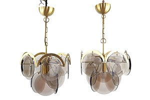 Superb Pair of Italian Gino Vistosi Small Chandeliers with Bullseye Grey Tinted Glass Discs, Circa 1970 (2)