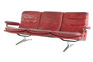 Vintage Danish Three Seater Leather and Chromed Steel Framed Sofa