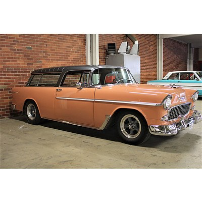 01/1955 Chevrolet Bel-Air Nomad 2dr Wagon Shadow Grey Coral