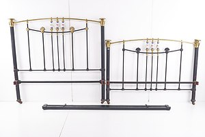 Antique Brass and Iron Bed with Porcelain Inserts