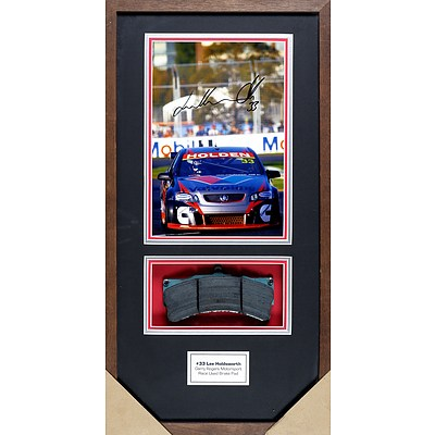 #33 Lee Holdsworth Framed Signed Photo with Race Used Brake Pad