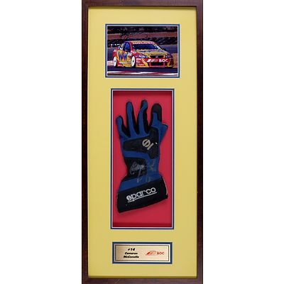 #14 Cameron McConville 2009 Framed Signed Photo with Race Used Glove