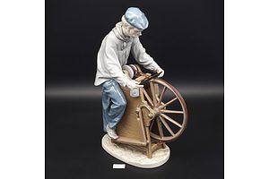 Lladro Ceramic Figure, Sharpening the Cutlery