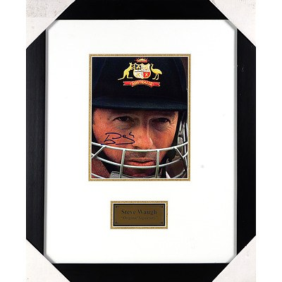 Signed and Framed Steve Waugh Photograph