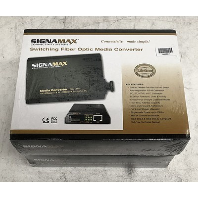 Signamax (065-1110) 10/100BaseT/TX to 100BaseFX Converter-SC Media Converter- Lot of Two *Brand New