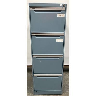 Brown Built Four Drawer Filing Cabinet