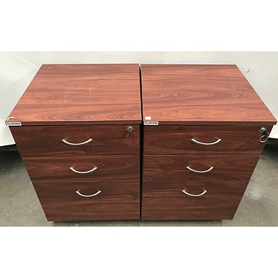 Aurora Three Drawer Filing Cabinets -Lot Of Two