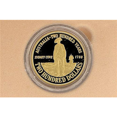 SEALED 1988 Australia 22ct Gold Two Hundred Dollar Proof Coin