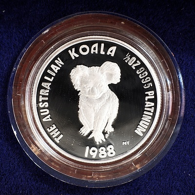1988 The Australian Koala First Proof Issue Fifty Dollar Platinum Coin with Wooden Case