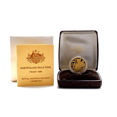1980 22ct Gold Koala Two Hundred Dollar Proof Coin, Including Original Box